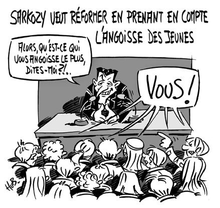Sarkozy face à «l'angoisse» des jeunes