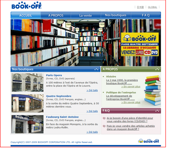 Vendre ses livres : nouvelle librairie d'occasion Book Off à Paris