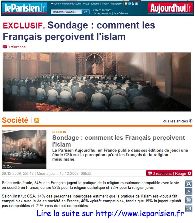 Des « Français », d'un sondage et d' « un » islam…