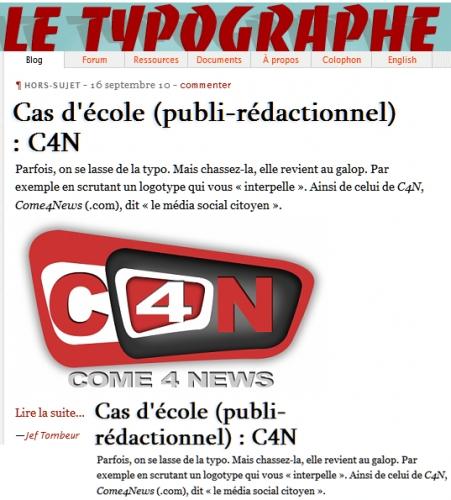Come4News et sa typographie…