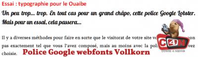Essai : typographie pour le Ouaibe