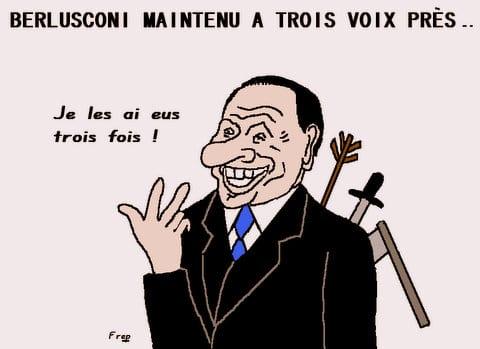 Berlusconi  reconduit  à  trois  voix   près . .