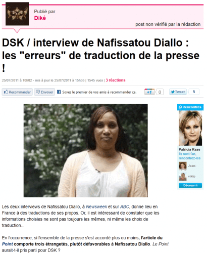 DSK : Nafissatou Diallo lost in translation