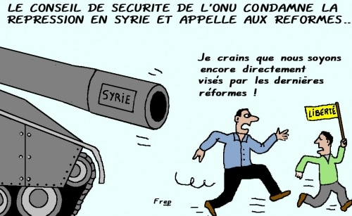 La Syrie condamnée par le Conseil de sécurité de l'ONU  et  après . .