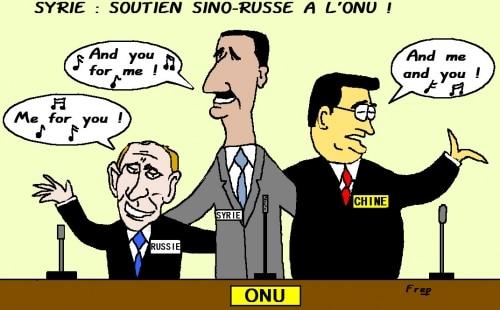 Le régime syrien soutenu par la Russie et la Chine à l'ONU