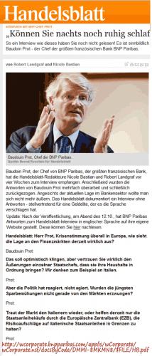 Médialogie : l'entretien à trous d'Handelsblatt