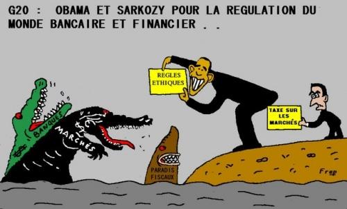 G20 : OBAMA ET SARKOZY POUR LA REGULATION FINANCIERE . .
