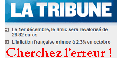 Inflation : +2,3 ; Smic : +2,1 %