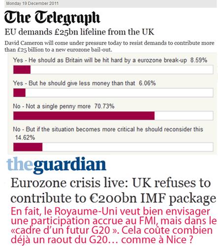 Eurozone : rabibochage avec l'Angleterre ?