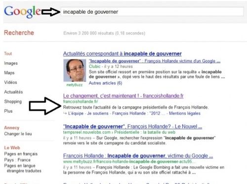 François Hollande, nouvelle victime de Google ?
