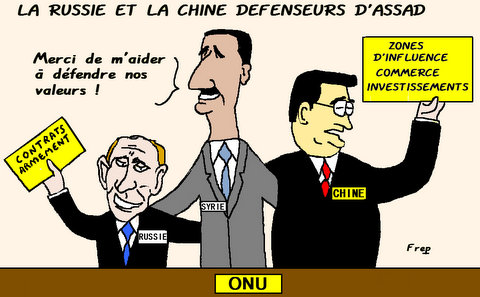 La  Russie  et  la  Chine  défenseurs  d'Assad . .