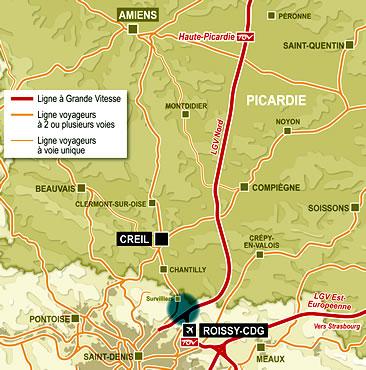 Un projet de TGV Amiens-Roissy est à l'étude.