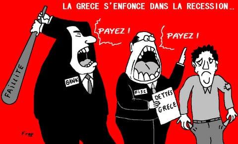 LA  GRECE  S'ENFONCE  DANS  LA  RECESSION . .