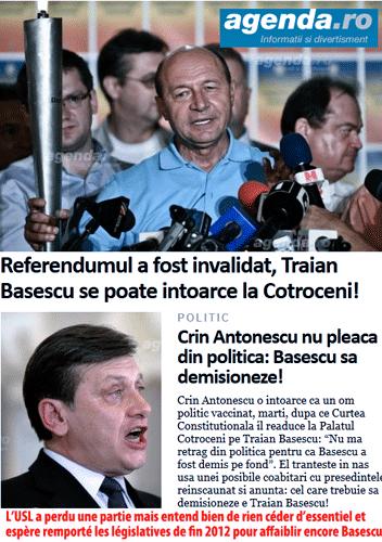 Roumanie : Basescu réinstallé, fin de crise très incertaine