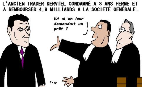 L'ancien trader Kerviel  condamné à rembourser  4,9 milliards à la Société Générale  !