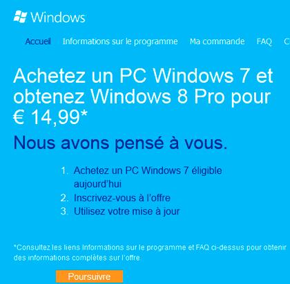 De Windows 7 à Windows 8 pour 15 euros