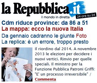Italie : regroupements régionaux drastiques