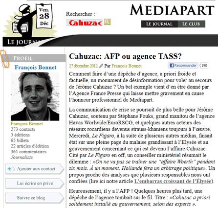 Mediapart contre Cahuzac : affaire de « morale publique »