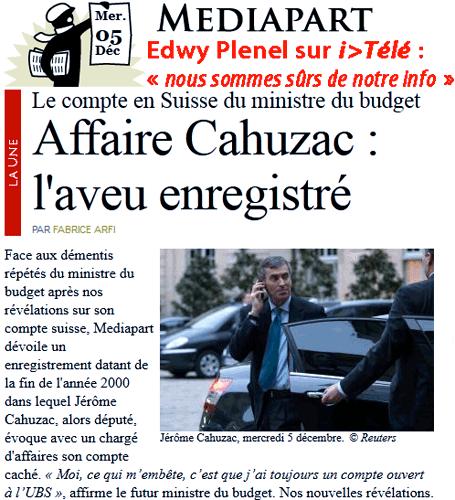 Compte en Suisse de Cahuzac : Mediapart insiste