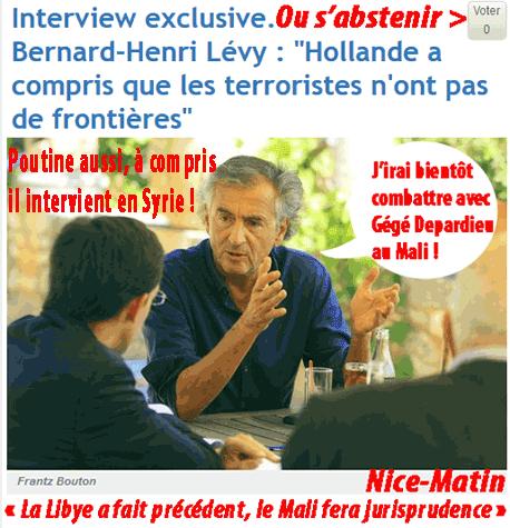 BHL : Poutine a compris, il intervient en Syrie !