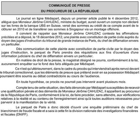 Affaire Cahuzac : ouverture d'une enquête judiciaire