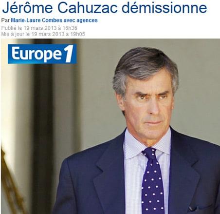 Affaire Cahuzac : entraide répressive demandée à Genève et Singapour et démission du ministre