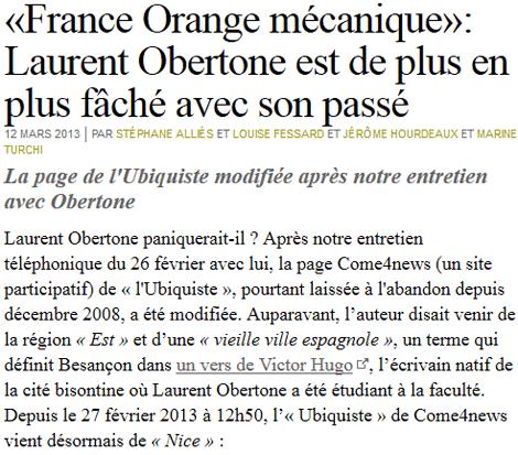 Quand Laurent Obertone (Orange mécanique) faisait ses débuts sur Come4News