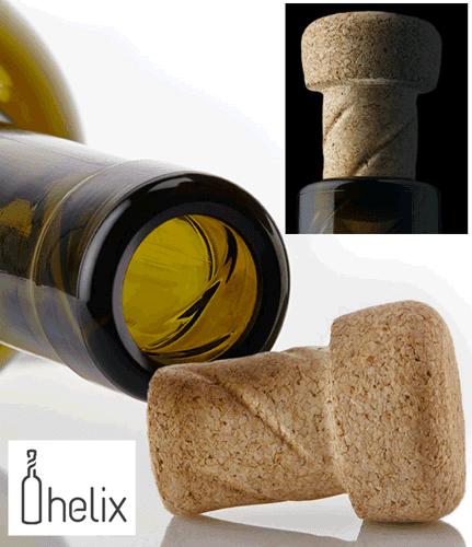 Vins : flacon et bouchon de liège à vis, c'est Helix(ieux)