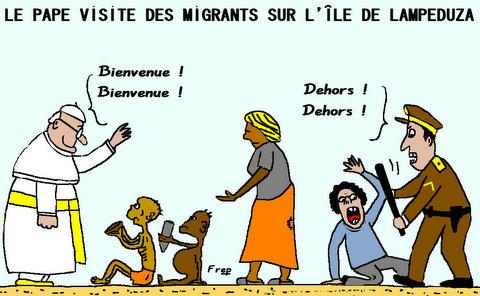 Le  pape  avec  les  migrants  sur  l'ile  de  Lampeduza . .