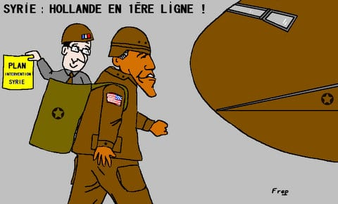 Syrie :  Hollande  en  première  ligne . .