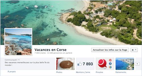 « Vacances en Corse » a sa page Facebook