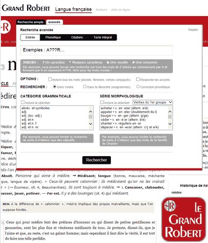 Dictionnaire Grand Robert v.3 : enfin une recherche avancée digne de l'éditeur