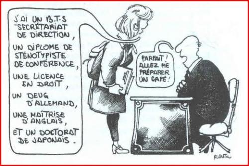 Jeune femme dans le monde masculin de travail en France…